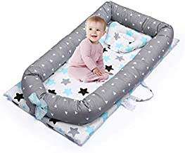 Baby Lounger, Baby Nest Mooedcoe 0-24 Month Newborn Portable Baby Bed Travel Bed 100% Soft Cotton Co-Sleeping Cribs with Pillow (Star)