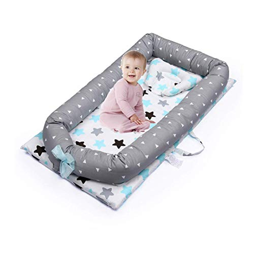 Baby Lounger, Baby Nest Mooedcoe 0-28 Month Newborn Portable Baby Bed Travel Bed 100% Soft Cotton Co-Sleeping Cribs with Pillow (Star)