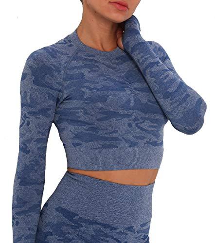 KIWI RATA Yoga Camiseta Deportiva Mujer Manga Larga Camuflaje sin Costuras Hueco Crop Top Deporte para Fitness Running Gimnasio Elásticos y Transpirables