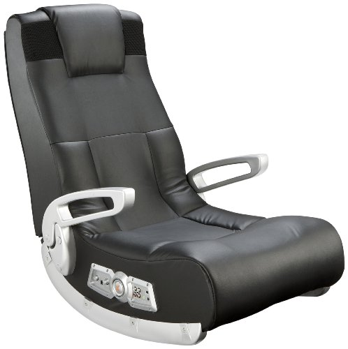 Ace Bayou X Rocker II SE 2.1 Black Leather Floor Video Gaming Chair for Adult, Teen, and Kid Gamers with Armrest and Headrest  - High Tech Audio and Wireless Capacity - Ergonomic Back Support