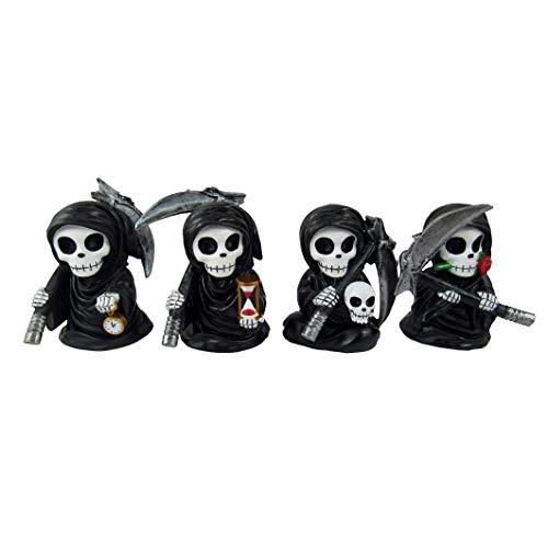 DWK – Fearsome Foursome – Set von 4 bezaubernden Miniatur-Figuren Sensenmann mit Sensenuhr, Sanduhr, Totenkopf, Rose, niedlicher Tod, Mini-Party, Gastgeschenk, Heimdekoration, Akzent-Figuren, 8,9 cm