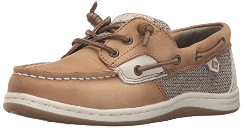 Sperry girls Songfish Boat Shoe, Linen/Oat, 4 Big Kid US