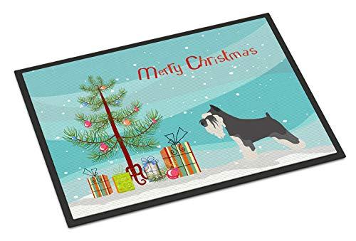 Caroline Tesoros del Schnauzer Miniatura Navidad Felpudo, Multicolor, 18hx27W