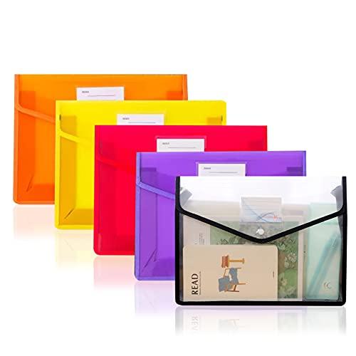 ファイルケース B4サイズ 5個セット ボタン式 クリア ファイルケース 大容量 名刺ポケット付き オフィス用品 整理収納 資料 書類 整理 分類収納 文房具 学校 (5個セット)