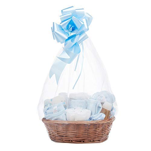 Baby Boy Gift Basket Hamper - with Baby Clothes, Newborn Essentials, Baby Blanket, Blue Comforter and Soft Toy Rattle
