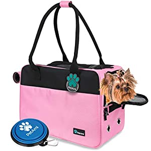 PetAmi Airline Approved Dog Purse Carrier | Soft-Sided Pet Carrier for Small Dog, Cat, Puppy, Kitten | Portable Stylish Pet Travel Handbag | Ventilated Breathable Mesh, Sherpa Bed (Pink)