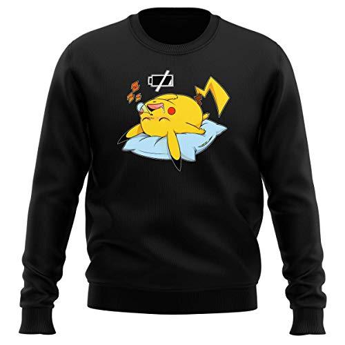 Okiwoki Pull Noir Parodie Pokémon - Pikachu - Batterie Off - ZZZZ (Sweatshirt de qualité Premium de Taille M - imprimé en France)