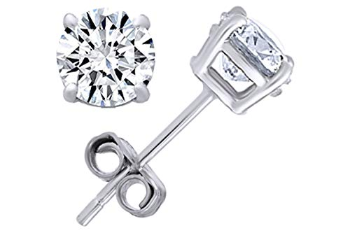 Round Natural Diamond Stud (IGI Certified 0.70 ct & up) Plus Quality Friction Back Earrings in 14k Solid White Gold, 0.04 Ctw - 2.00 Ctw