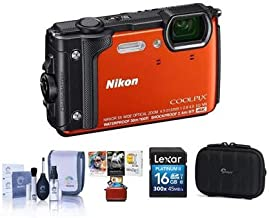 Nikon Coolpix W300 Point & Shoot Camera, Orange - Bundle with 16GB SDHC Card, Camera Case, Cleaning Kit, Mac Software Package