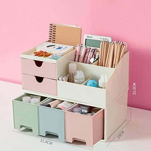 Ambachtelijke opbergdoos, make-up organizer Desktop opbergdoos Container voor cosmetica Doos voor sieraden Briefpapier Plastic organizer Ladeboxen, dubbel roze-driekleur