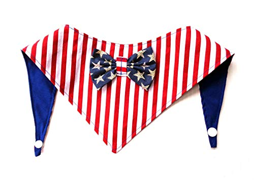 Tie On Snap Closure 2 in 1 Stars Stripes Patriotic Dog Bandana Red White Blue Petwear July 4th Neckwear