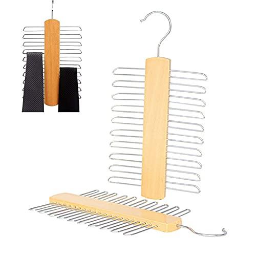 2 Piezas Percha para Corbatas Percha,Percha de Madera Corbatas,Cinturones Percha de Madera,con Ganchos de Metal para Corbatas Bufandas Cinturones Organizador de Almacenamiento