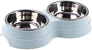 Double-Headed Dog Bowl Puppy Water Feeder Stainless Steel Pet Bowl Pet Feeder Feeding Supplies Dog Bowl AXCDE (Color : F)