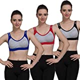 Vibrant Fashion Women's Cotton Non Padded Daily Workout Sports Gym Bra Combo (Multicolored) - Pack of 3 (40, Multicolored)