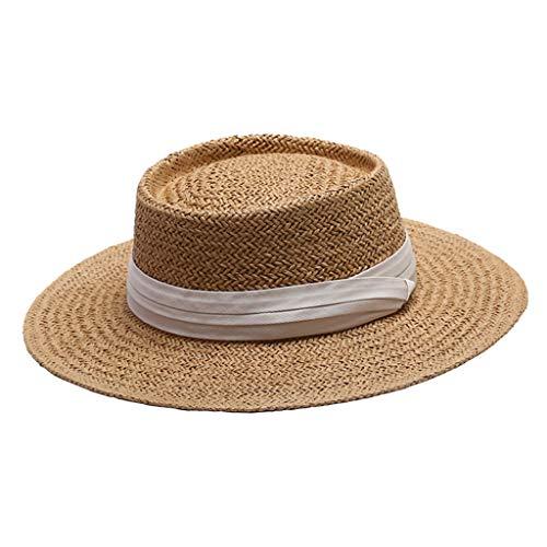 F Fityle Chapéu De Palha Das Mulheres Verão Praia Boater Chapéu De Sol Chapéu Dobrável Fedora Viagem Ao Ar Livre - Branco