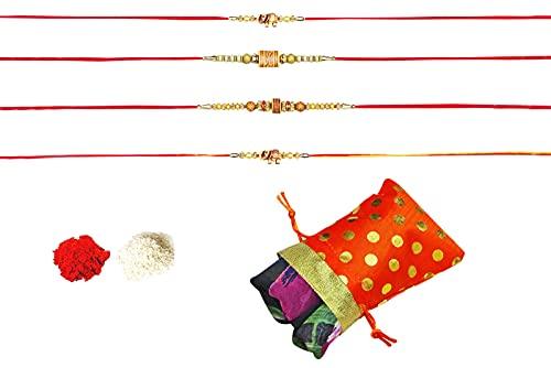 Peegli Indio Multicolor Rakhi Para Rakshabandhan Juego De 4 Piezas Rakhee Para Hermano Con Bufanda