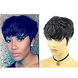 Rofa Beauty Human Hair Short Wigs Pixie Cut Wigs with Bangs for Women Short Black Layered Wavy Human Hair Wigs for Women