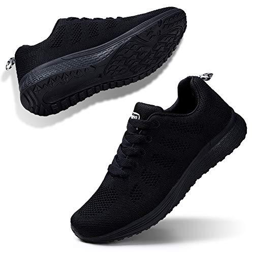 STQ Damen Laufschuhe Freizeit Walking Schuhe Mesh Atmungsaktiv Fitness Schuhe Outdoor Sportshuhe Alles Schwarz EU36