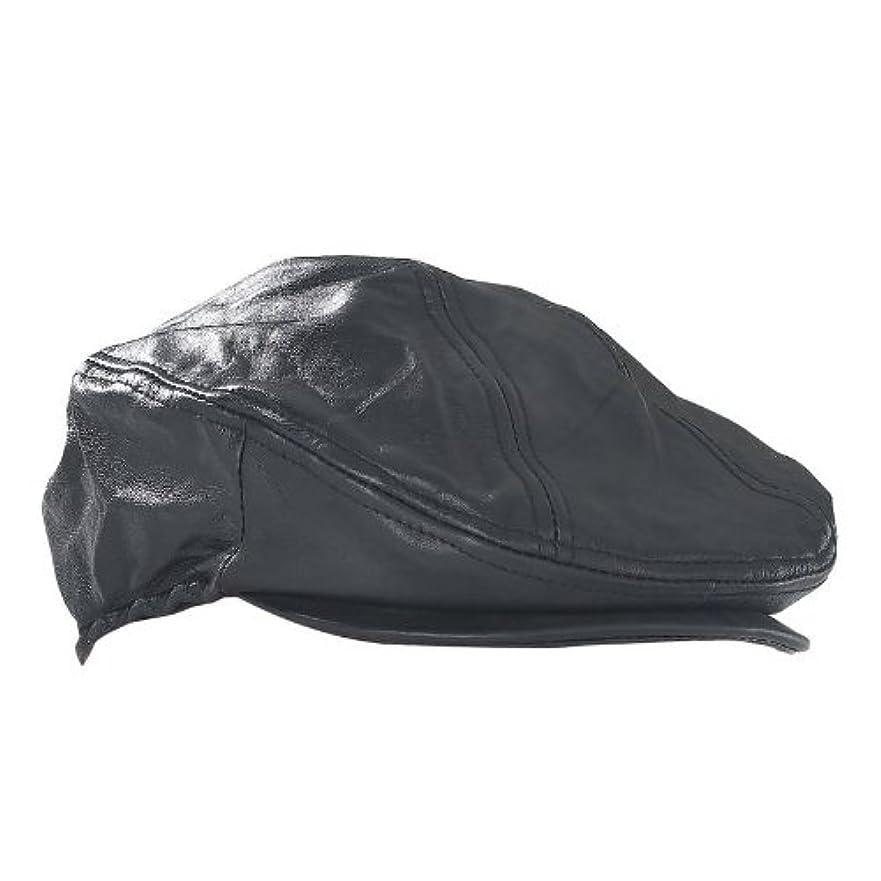理容師テキスト命令Giovanni Navarre ハンチング帽 レザー 革 帽子 キャップ 黒 ソ リッドジェニュインブラックレザ ー ハンチング ドライビングキャ ップ GFHAT2HCJ