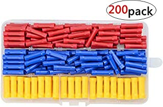WMYCONGCONG 200 PCS Insulated Straight Wire Butt Splice Terminals Electrical Crimp Connector Assortment Kit