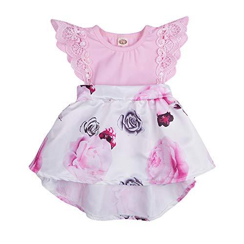 Newborn Infant Baby Girls Floral Dress Flutter Lace Sleeve Skirts Ruffle Dresses Summer Outfits (Pink # Dress, 12-18 Months)