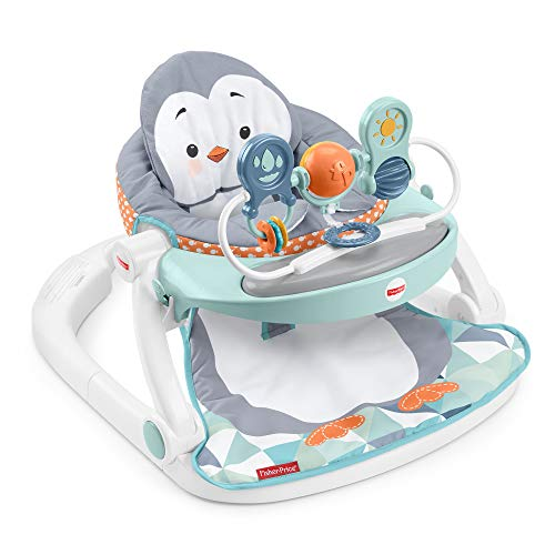 Product Image of the Fisher-Price Sit-Me-Up Floor Seat with Tray, Penguin-Themed Portable Infant...