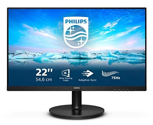 """Philips 222V8LA - Monitor da 54 cm (21""""), HDMI, DisplayPort, 1920 x 1080 Pixel, 75 Hertz, FreeSync, colore: Nero"""