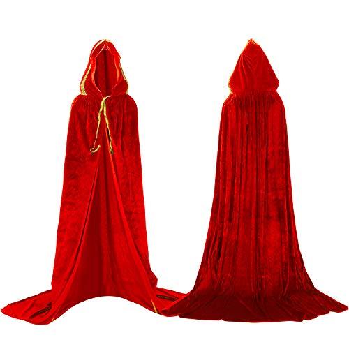 Proumhang Roter Umhang mit Kapuze Samt Erwachsener Halloween Kostüme Vampir Umhang Todesser Kostüm Maleficent Kostüm Hexen Umhang Damen