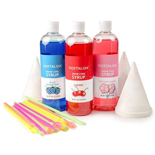 Nostalgia SCK3 Premium Syrup Party Kit Snow Cones, 20 Spoons/Straws, Blue Raspberry, Cherry, Cotton Candy, Multi