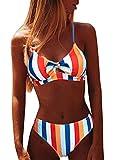 Joligiao Mujer Conjuntos de Bikini Rayas Traje de Baño Estampado Anudado Trajes de Dos Piezas Conjuntos Push Up Delantero Playero Bañador