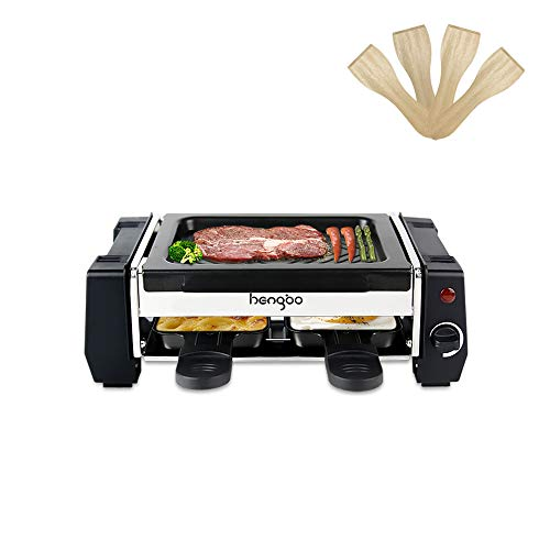 Raclette 2 Personen, Mini Raclette Grill mit Antihaftbeschichteten 2 Pfannen für 2 Personen, 500W