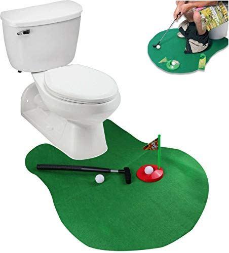 Deco2pro Toilet Golf, Potty Golf Drinker Toilet time Toy Putter Putting Game Golfing Indoor Practice Mini Golf Gift Set Golf Training Accessory for Men Women