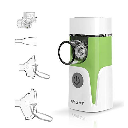 Feellife Aerogo Inhalator für Kinder und Erwachsene, mit 2 Medizinbecher, Inhalationsgerät mit Schwingmembran-Technologie, tragbar und leise, für zu Hause oder unterwegs