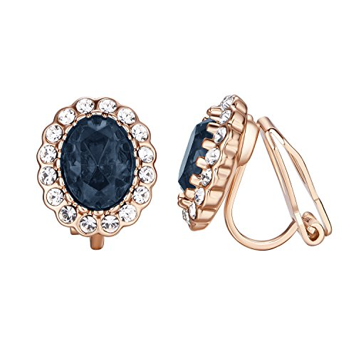 Yoursfs Prom Party Halo Crystal Deep Royal Blue Statement Earrings Midnight Art Deco Fancy Clip On Earrings for Women 18ct Rose Gold Plated Fashion Jewellery