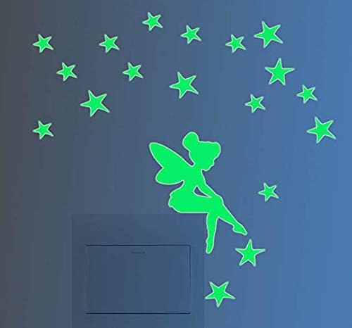 Decoración luminosa adhesiva para Interruptor, graciosa, para pared, fluorescente, noche, hada, estrella 4 pcs