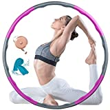 Exercise Hoops for Adults, Weighted Loss Hoop for Exercise, Fitness Hoop with Premium Foam, 8 Sections Size Adjustable Design for Family and Outdoor (With A Tape Measure and Cooling Towel)