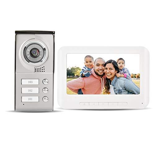 Videoportero Timbre de la puerta, Bewinner Pantalla LCD TFT a color de 7 pulgadas 4 Intercomunicador de video con intercomunicador Timbre, 3 Interfono con monitor interior para 3 familias vecinas (UE)