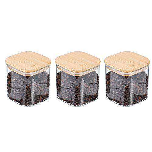 Tarro de Vidrio de Almacenamiento, Tarros de Cristal para Conservas Envases Cristal Alimentos de Bambú Anillo de Silicona Hermético Transparente Cocina Recipientes(550ml)