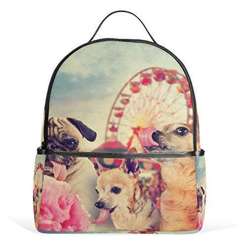 School Rugzak Dagtas Dier Mooie Honden Carnaval Amusement Park Lichtgewicht Canvas Book Bag voor Jongens Meisjes Kids Tieners Vrouwen