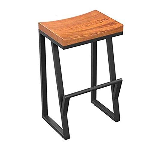 LY Barkrukken Industry Bar Stool 63cm hoge, houten keuken Seat Iron Legs, Metal Dineren Stoelen met Wood Seat, for Breakfast Bar Tables (Size : 63cm/24.8'')