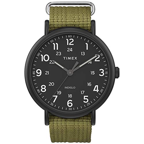 Timex Men's Weekender XL 43mm Analog Quartz Canvas Strap, Green, 20 Casual Watch (Model: TW2U682009J)