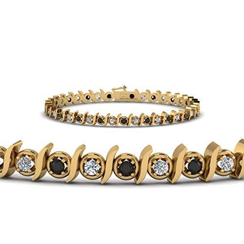 SLV Pulsera de tenis de 0,76 quilates de corte redondo negro y diamantes CZ en plata 925 chapada en oro de 14 quilates