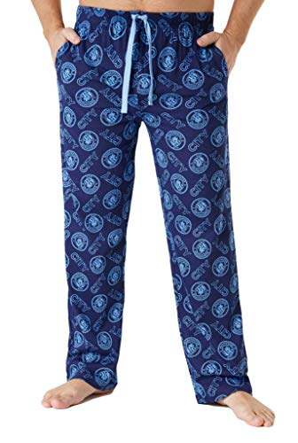 Manchester City F.C. Mens Lounge Pants, Cotton Mens Pyjamas, Football Gifts (Blue, M)