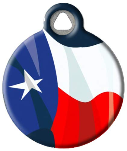 Dog Tag Art Custom Pet ID Tag for Dogs - Texas Flag - Large - 1.25 inch