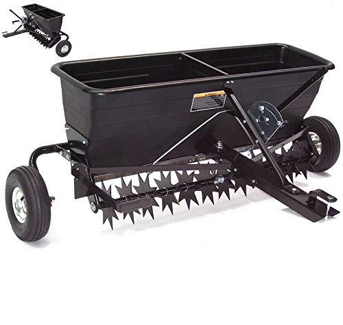XXL Anhänger Rasenlüfter Rasenbelüfter 102cm Vertikutierer mit Streuwagen 55552, Rasenstriegel Rasenlüfter Rasentraktor AWZ