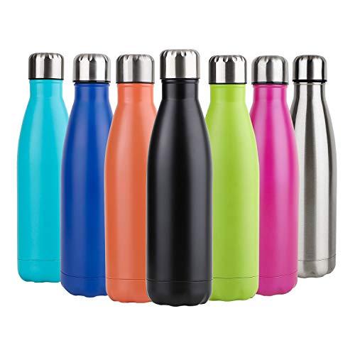 Hotchy Edelstahl Trinkflasche, Vakuum Isolierte Thermosflasche, BPA Frei 500ml Wasserflasche Auslaufsicher Thermoskanne für Kinder, Schule, Sport, Outdoor, Fahrrad, Fitness, Camping - Schwarz