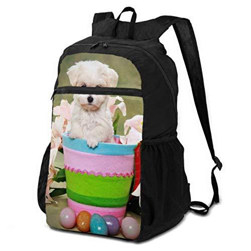 Damen-Wanderrucksack mit niedlichem Malteser-Welpen-Osterkorb, Tagesrucksack für Reisen, Damen-Wandertasche, leicht, wasserdicht, für Damen und Herren, für Camping und Outdoor