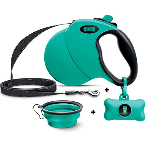 Ruff 'n Ruffus Retractable Dog Leash with Free Waste Bag Dispenser and Bags + Bonus Bowl |...