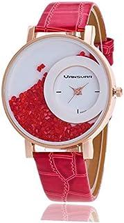 ساعة نسائية من الجلد ,بكريستال عائم  - اللون أحمر