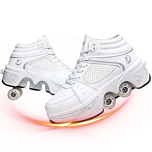 YUNWANG Deformación 4 Rueda Patines 2 En 1 Multifunción Ajustable Doble Fila Zapatos con Ruedas para Adolescentes Y Adultos Zapatos